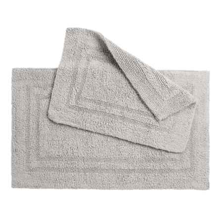 Oasis Double Racetrack Cotton Bath Rugs - 2-Pack, Reversible in Grey - Overstock