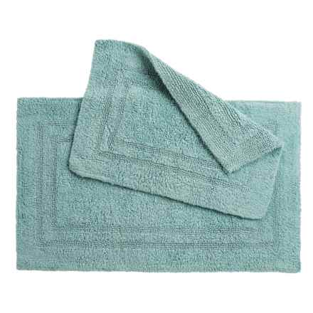 Oasis Double Racetrack Cotton Bath Rugs - 2-Pack, Reversible in Nile Blue - Overstock