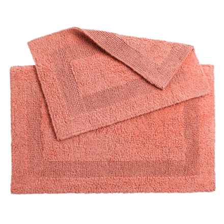 Oasis Single Racetrack Cotton Bath Rugs - 2-Pack, Reversible in Burnt Coral - Overstock
