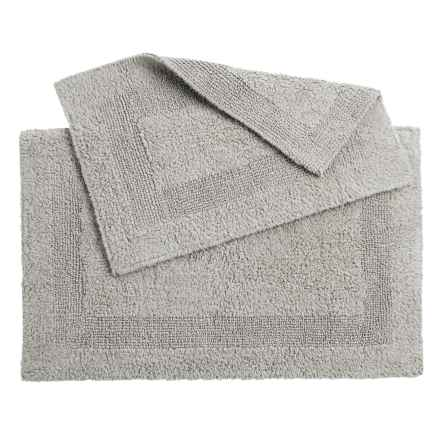 Oasis Single Racetrack Cotton Bath Rugs - 2-Pack, Reversible in Grey - Overstock