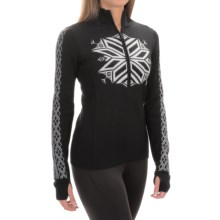 Obermeyer Avalon Sweater - Merino Wool Blend, Zip Neck (For Women) in Black/White - Closeouts