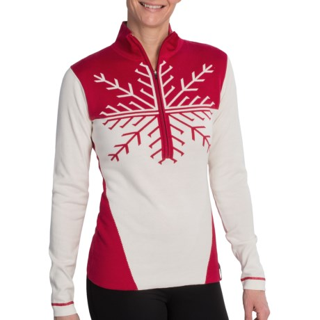 Obermeyer Avanti Sweater - Zip Neck (For Women) in Ruby Red