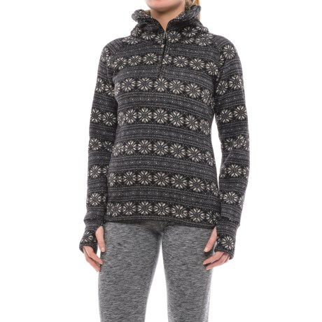 Obermeyer Brandi Fleece Shirt - Zip Neck (For Women) in Black Snowflake