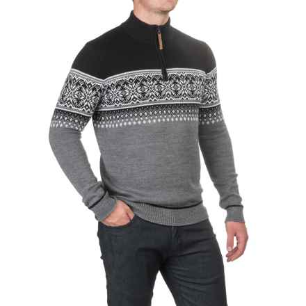 Obermeyer Bryce Sweater - Zip Neck, Merino Wool (For Men) in Light Heather Grey - Closeouts