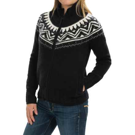 Obermeyer Frances Cardigan Sweater - Full Zip, Wool and Angora Blend (For Women) in Black/White - Closeouts