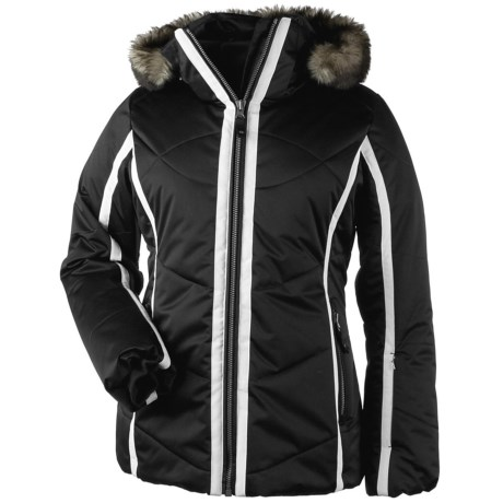 Obermeyer Genevieve Down Jacket - Insulated, Removable Faux Fur (For Women) in White W/Grey