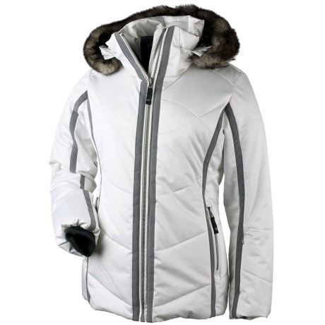 Obermeyer Genevieve Down Jacket - Insulated, Removable Faux Fur (For Women) in Black W/White