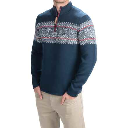 Obermeyer Hemsedal Sweater - Merino Wool, Zip Neck (For Men) in Eclipse/Red/White - Closeouts