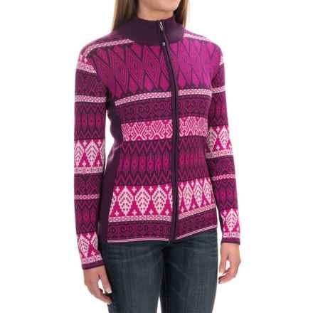 Obermeyer Jodi Ski Cardigan Sweater - Merino Wool-Acrylic (For Women) in Acai - Closeouts