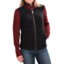 Obermeyer June Cardigan Sweater - Full Zip, Angora, Merino Wool (For Women) in Black/Red - Closeouts