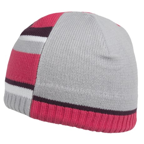 Obermeyer Mondi Knit Beanie Hat (For Girls) in Hot Pink W/Platinum/Plum Trim