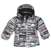 Obermeyer Sheer Bliss Jacket - Down (For Little Girls) in Silver Scribble Print - Closeouts
