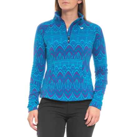 Obermeyer Siena Fleece Pullover Shirt - Zip Neck, Long Sleeve (For Women) in Polar Blue Artist Print - Closeouts