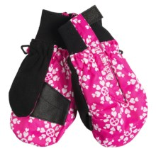 Obermeyer Thumbs Up Mittens - Insulated (For Kids) in 98 Hot Pink Snow Flake Print - Closeouts