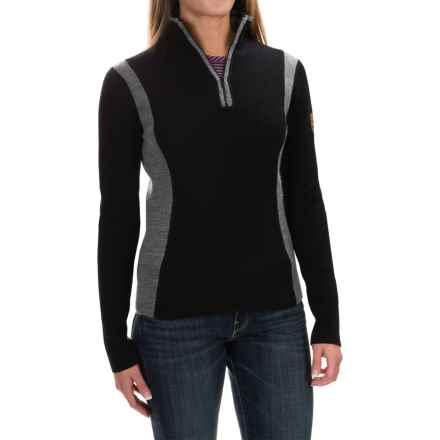 Obermeyer Verbier Ski Cashmere Sweater - Merino Wool-Cashmere, Zip Neck (For Women) in Black/Grey - Closeouts