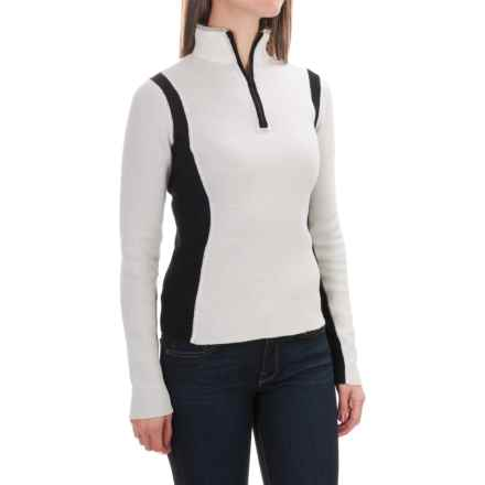 Obermeyer Verbier Ski Cashmere Sweater - Merino Wool-Cashmere, Zip Neck (For Women) in White/Black - Closeouts
