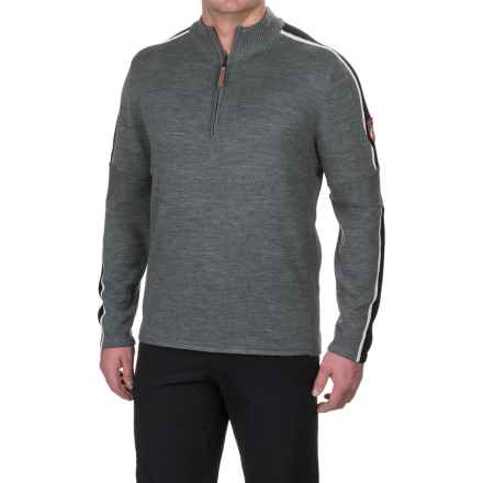 Obermeyer Vista Sweater - Merino Wool, Zip Neck (For Men) in Light Heather Grey - Closeouts