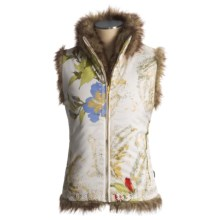 Obermeyer Vixen Vest - Reversible, Insulated (For Women) in Floral Print R/ Faux Fur - Closeouts