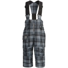 Obermeyer Volt Plaid Suspender Snow Pants - Insulated (For Little Boys) in 01 Slate Flannel Plaid - Closeouts