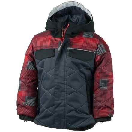 Obermeyer Wildcat Ski Jacket - Waterproof, Insulated (For Toddlers and Little Boys) in Ebony/Red/Grey Print - Closeouts