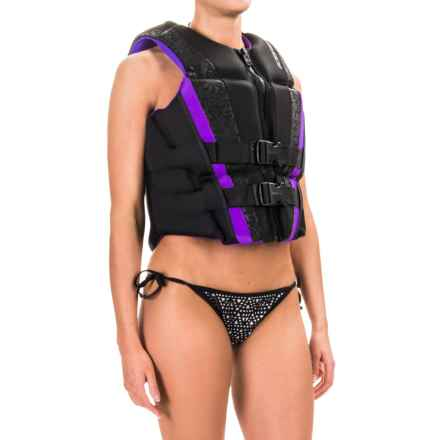 O'Brien Flex V-Back Type III PFD Life Jacket (For Women) in Black/Purple - Closeouts