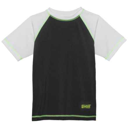 Ocean Gear Color-Block Rash Guard - UPF 50+, Short Sleeve (For Big Boys) in Black - Closeouts