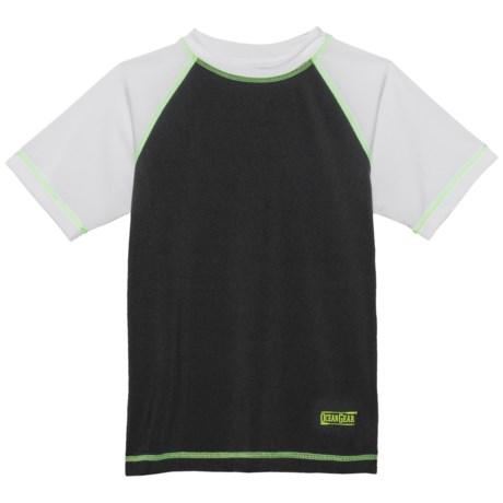 Ocean Gear Color-Block Rash Guard - UPF 50+, Short Sleeve (For Big Boys) in Black