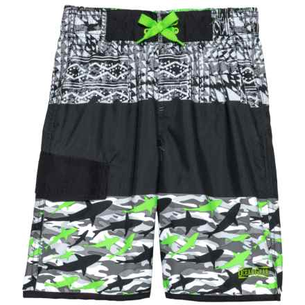 Ocean Gear Color-Block Solid/Print Swim Trunks - UPF 50+ (For Big Boys) in Lime - Closeouts