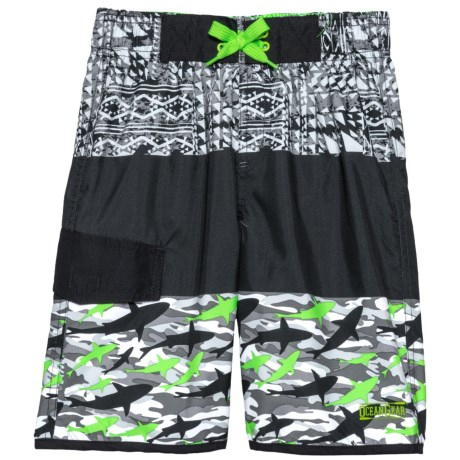 Ocean Gear Color-Block Solid/Print Swim Trunks - UPF 50+ (For Big Boys) in Lime
