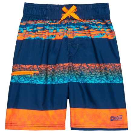 Ocean Gear Printed Stripes Swim Trunks - UPF 50+ (For Big Boys) in Navy - Closeouts