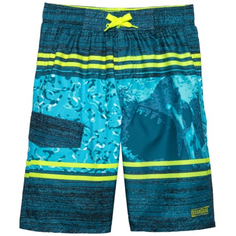 Ocean Gear Shark Graphic Swim Trunks - UPF 50+ (For Big Boys) in Navy