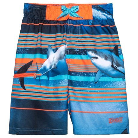 Ocean Gear Shark Stripes Swim Trunks - UPF 50+ (For Big Boys) in Orange
