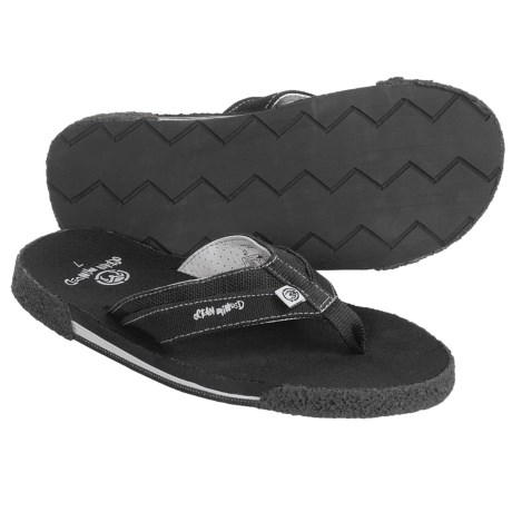 Ocean Minded Long Brothers II Sandals - Leather-Hemp-Recycled Materials, Flip-Flops(For Men) in Black