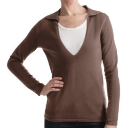 Odeon by Belford Combed Cotton Sweater - Split Collar (For Women) in Deep Red