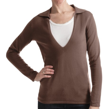 Odeon by Belford Combed Cotton Sweater - Split Collar (For Women) in Light Grey
