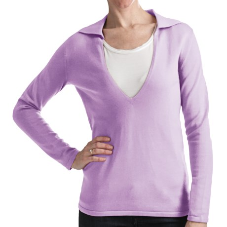 Odeon by Belford Combed Cotton Sweater - Split Collar (For Women) in Pale Iris