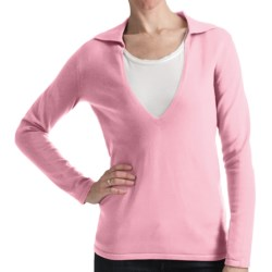 Odeon by Belford Combed Cotton Sweater - Split Collar (For Women) in Pink Cream