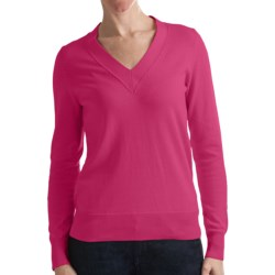 Odeon by Belford Combed Cotton Sweater - V-Neck (For Women) in Rose Pink