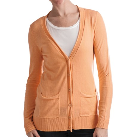 Odeon by Belford Cotton Cardigan Sweater (For Women) in Nectarine