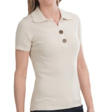 Odeon by Belford Knit Polo Shirt - Short Sleeve (For Women) in Stone - Closeouts