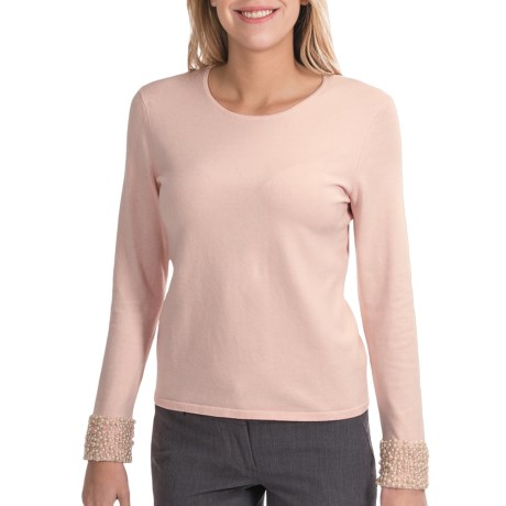 Odeon by Belford Pearl Cuff Sweater - Silk-Cashmere (For Women) in Carnation Pink