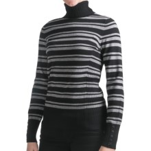 Odeon by Belford Turtleneck Sweater (For Women) in Grey Stripe - Closeouts
