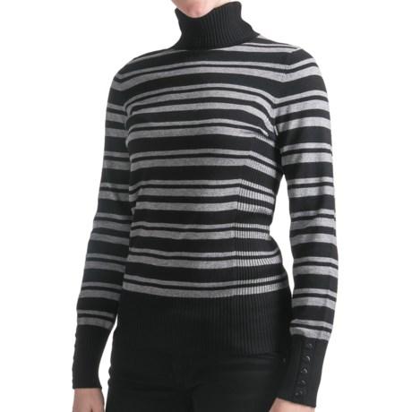 Odeon by Belford Turtleneck Sweater (For Women) in Grey Stripe