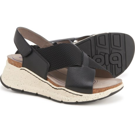 Odessa Wedge Sandals - Leather (For Women) - BLACK (9 ) -  Bionica