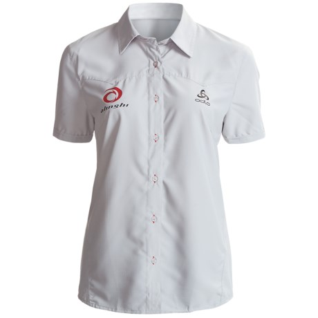 Odlo Quick-Drying Button-Front Shirt - UPF 50+, Short Sleeve (For Women) in Plantina