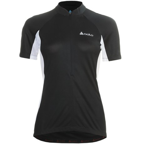 Odlo Zoom Cycling Jersey - UPF 30+, Zip Neck, Short Sleeve (For Women) in Black/White