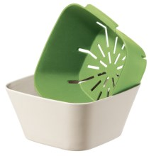 OGGI Bamboo Fiber Bowl and Strainer Set in Green / Natural - Closeouts