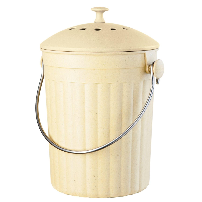 Oggi Countertop Compost Pail 128 Oz Compressed Bamboo