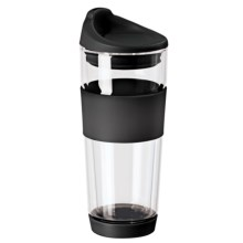 OGGI Double-Wall Glass Travel Mug - 16 fl.oz. in Black - Closeouts