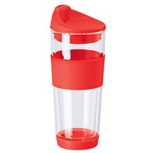 OGGI Double-Wall Glass Travel Mug - 16 fl.oz. in Red - Closeouts